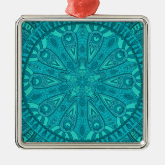 Teal Starburst Design Metal Ornament