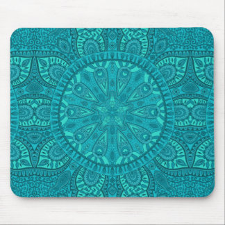 Teal Starburst Design Mouse Pad