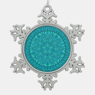 Teal Starburst Design Snowflake Pewter Christmas Ornament