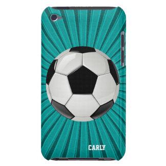 Teal Starburst Soccer Ball Custom iPod Touch Case