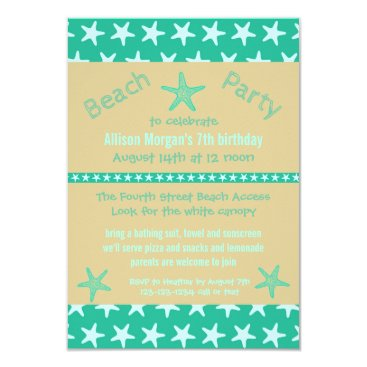 Beach Themed Teal Starfish Beach - 3x5Birthday Party Invitation