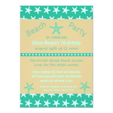 Beach Themed Teal Starfish Beach - Birthday Party Invitation