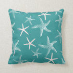 "Teal Starfish Pattern Throw Pillow<br><div class=""desc"">Teal green tropical starfish pattern throw pillow.  Bubble dots on one side and sea stars on the other.  Coastal beach home,  summer decor for the couch.</div>"