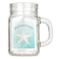 Teal Starfish Thank You Bridesmaid Mason Glass Jar