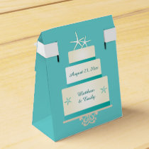 Teal Starfish Wedding Cake Favor Box