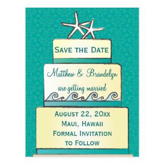 Teal Starfish Wedding Cake Save the Date Postcard