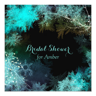 Teal Starry Forest Modern Bridal Shower Card