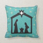 Teal Starry Night Nativity Christmas Pillow Bendel