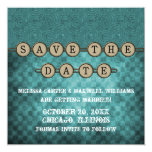 Teal Steampunk Keys Save the Date Invite