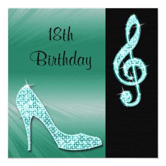 Teal Stiletto & Treble Cleft 18th Birthday Card