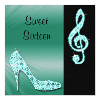 Teal Stiletto & Treble Cleft Sweet 16 Card