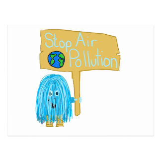 Teal stop air pollution post cards