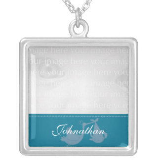 Teal Stork Baby Photo Silver Necklace