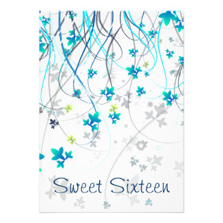 Teal Streamers Sweet Sixteen Party Personalized Announcement