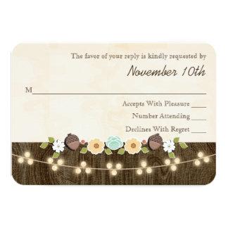 Teal String of Lights Acorn Rustic Wedding RSVP Card