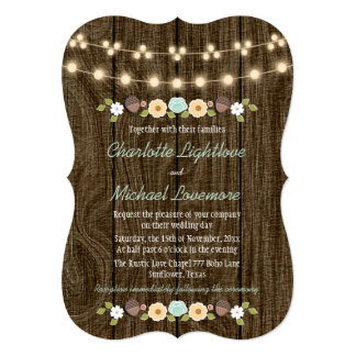 Teal String of Lights Fall Rustic Acorn Wedding Card