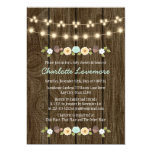 Teal String of Lights Fall Rustic Boy Baby Shower 5x7 Paper Invitation Card