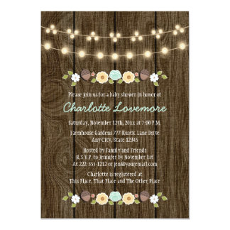 Teal String of Lights Fall Rustic Boy Baby Shower Card
