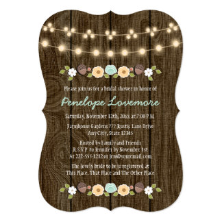 Teal String of Lights Fall Rustic Bridal Shower Card