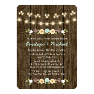 Teal String of Lights Fall Rustic Couples Shower Card