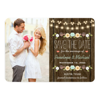 Teal String of Lights Fall Rustic Save the Date 5x7 Paper Invitation Card