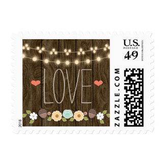 Teal String of Lights Fall Rustic Wedding Love Postage