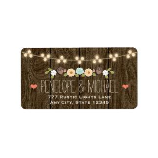 Teal String of Lights Floral Rustic Wedding Label