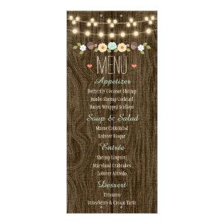 Teal String of Lights Rustic Fall Wedding Menu Rack Card Template