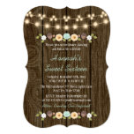 Teal String of Lights Rustic Sweet 16 5x7 Paper Invitation Card