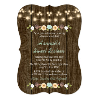 Teal String of Lights Rustic Sweet 16 Card