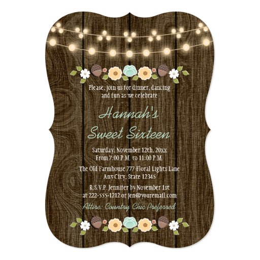 Teal String of Lights Rustic Sweet 16 Card