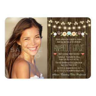 Teal String of Lights Rustic Sweet Sixteen 5x7 Paper Invitation Card