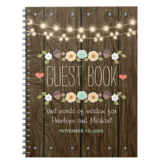 Teal String of Lights Rustic Wedding Guest Boook Notebook