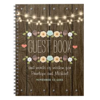 Teal String of Lights Rustic Wedding Guest Boook Spiral Notebook