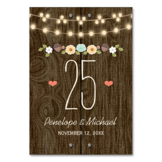 Teal String of Lights Rustic Wedding Table Number Card