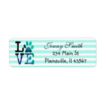 Teal Striped Love Paw Print Return Address Label