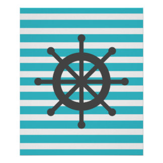 Teal Striped Nautical Ship Wheel Poster