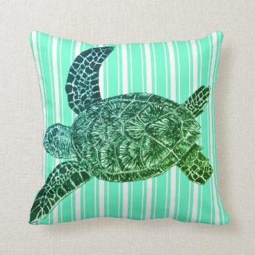 Teal Striped Sea Turtle Throw Pillow