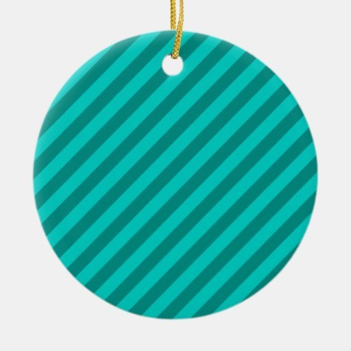 Teal Stripes. Christmas Tree Ornament