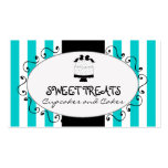 Teal Stripes Cupcake Cake Bakery Business Card