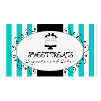 Teal Stripes Cupcake Cake Bakery Double-Sided Standard Business Cards (Pack Of 100)