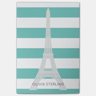 Teal Stripes & Eiffel Tower | Custom Name Post-it Notes