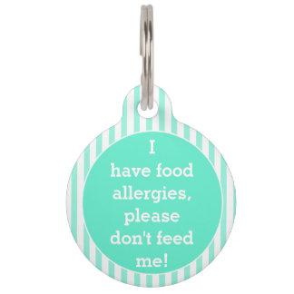 Teal stripes Food Allergies Medical Alert Pet Tag
