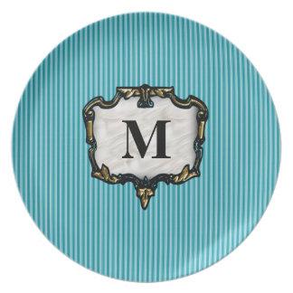 Teal Stripes Gold Monogram Dinner Plates