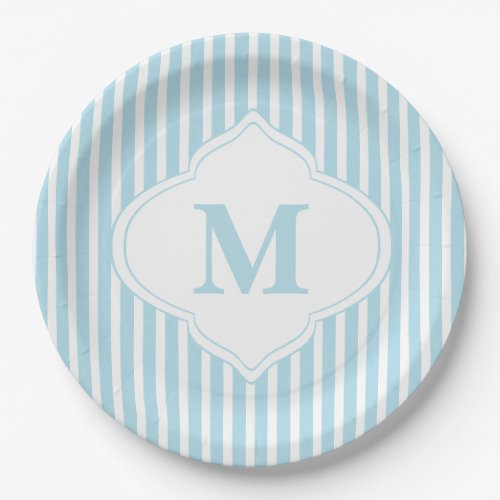 Teal Stripes Monogram Paper Plate