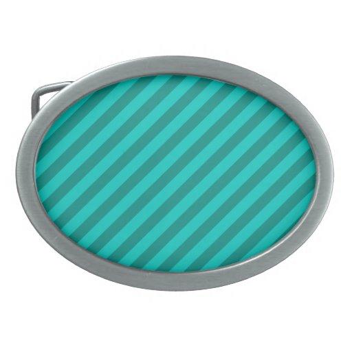 Teal Stripes. Oval Belt Buckle