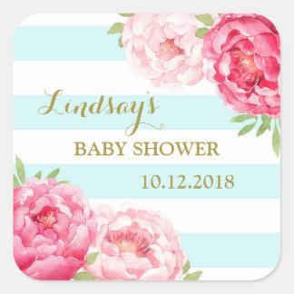 Teal Stripes Pink Floral Baby Shower Favor Tags