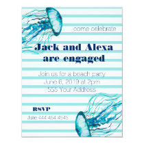 Teal Stripes Watercolor Jellyfish Beach Party Invitation