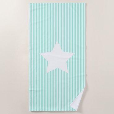 Beach Themed Teal Stripes & White Star Beach Towel