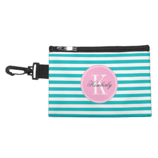 Teal Stripes with Bubblegum Pink Monogram Accessory Bags